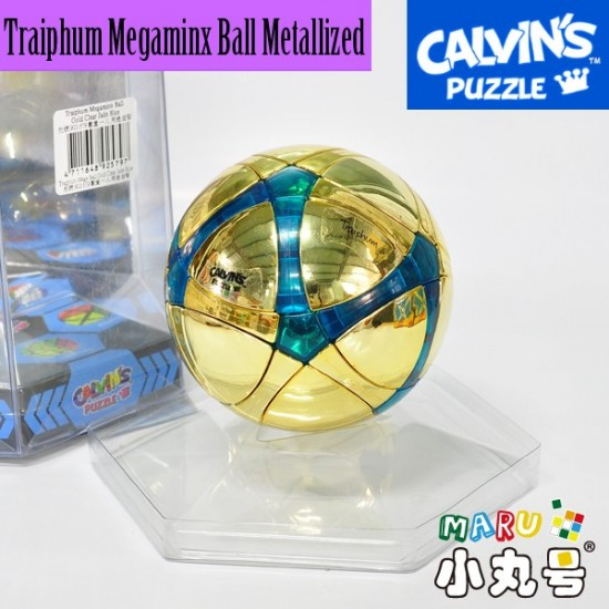 Calvin's - Traiphum Megaminx Ball Metallized Gold Embedded Clear Blue☆限量金球☆寶石透藍
