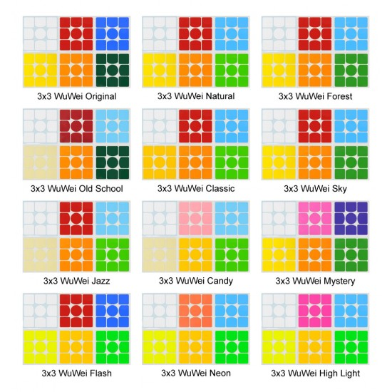 Cubesticker貼 - 3x3 -  Wuwei M 無畏三階 全系列